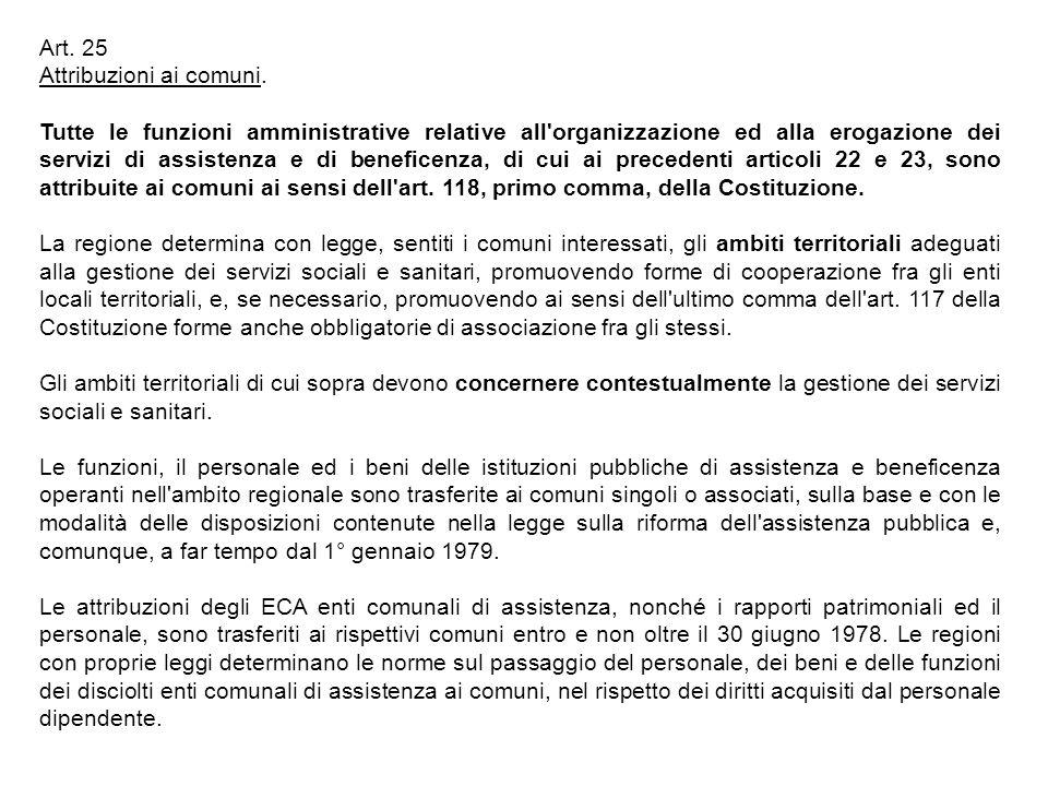 Art. 25 Attribuzioni ai comuni.