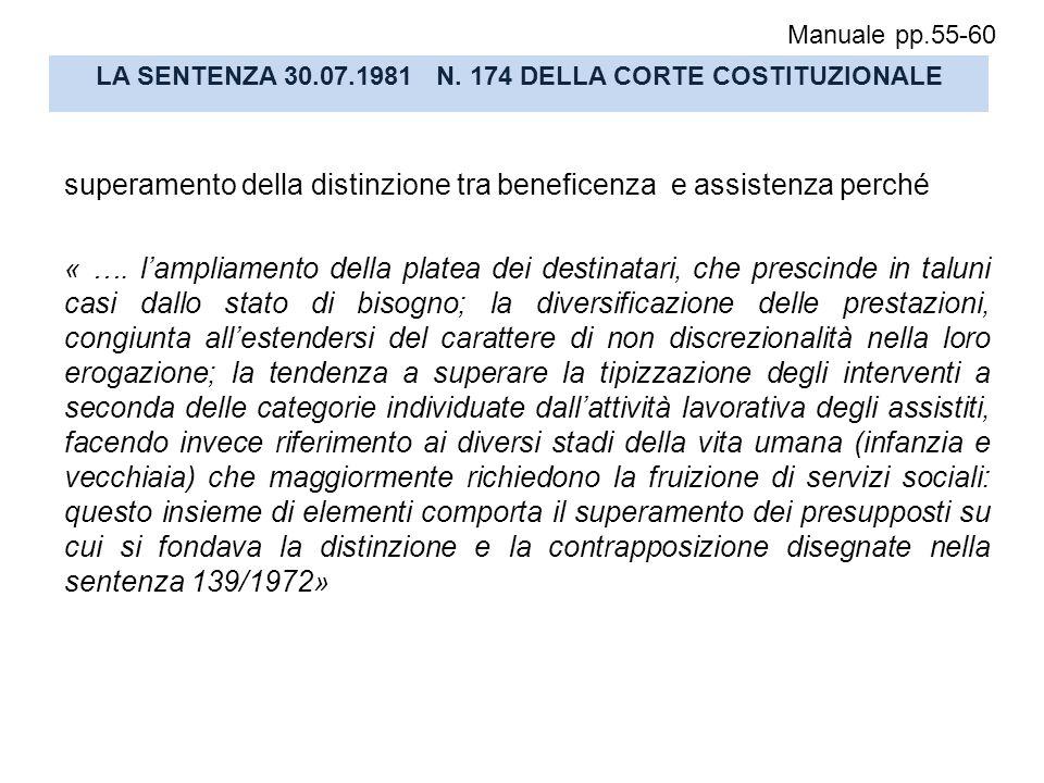 LA SENTENZA 30.07.1981 N. 174 DELLA CORTE COSTITUZIONALE