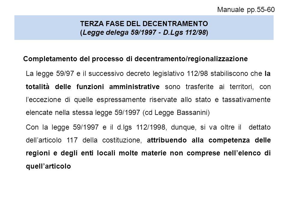 TERZA FASE DEL DECENTRAMENTO (Legge delega 59/1997 - D.Lgs 112/98)