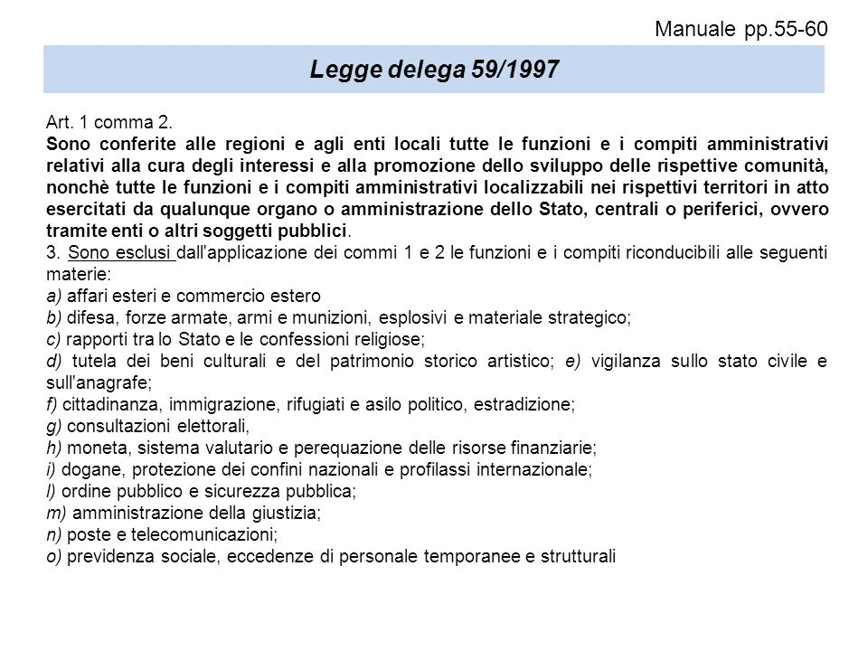 Legge delega 59/1997 Manuale pp.55-60 Art. 1 comma 2.