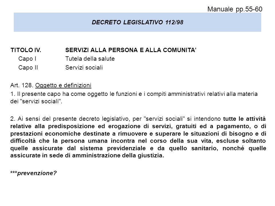 Manuale pp.55-60 DECRETO LEGISLATIVO 112/98