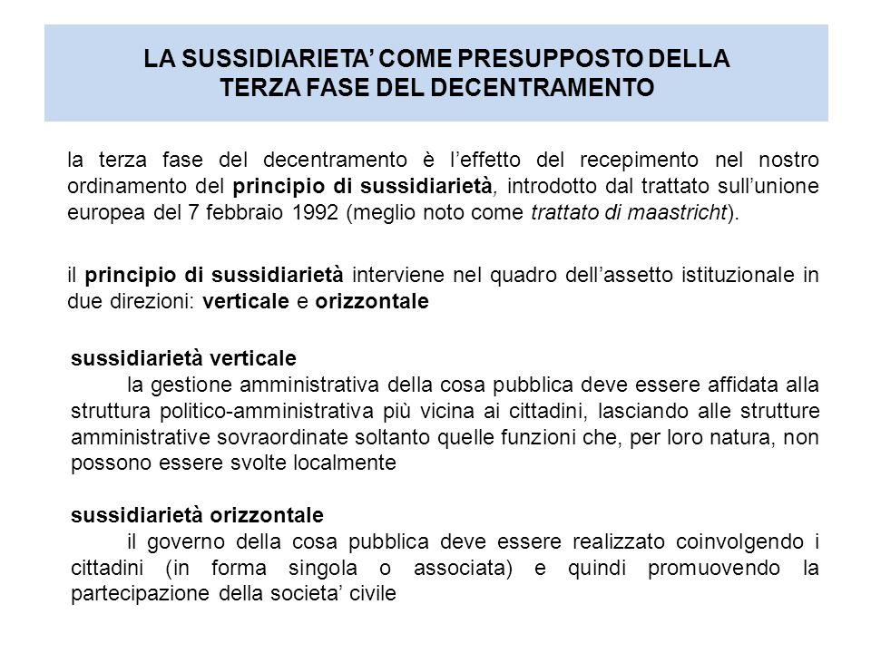 LA SUSSIDIARIETA' COME PRESUPPOSTO DELLA TERZA FASE DEL DECENTRAMENTO