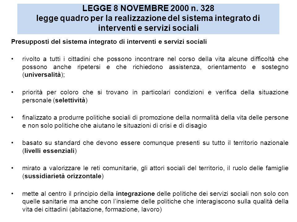 LEGGE 8 NOVEMBRE 2000 n. 328 legge quadro per la realizzazione del sistema integrato di interventi e servizi sociali