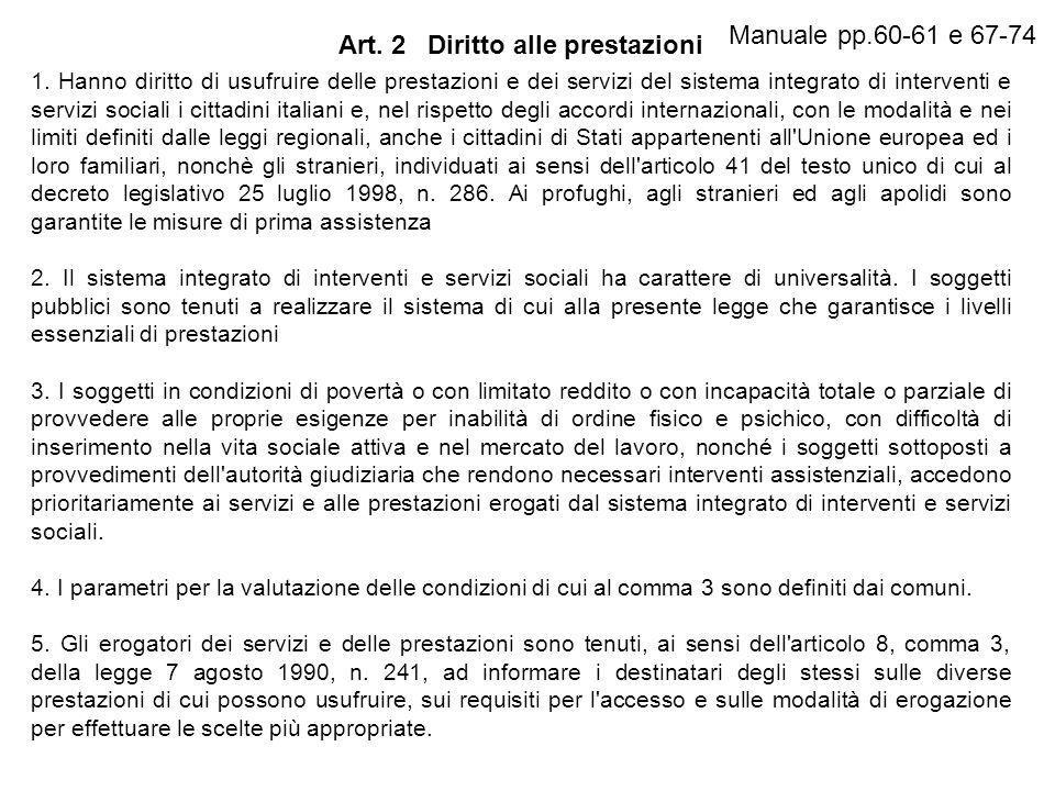 Art. 2 Diritto alle prestazioni