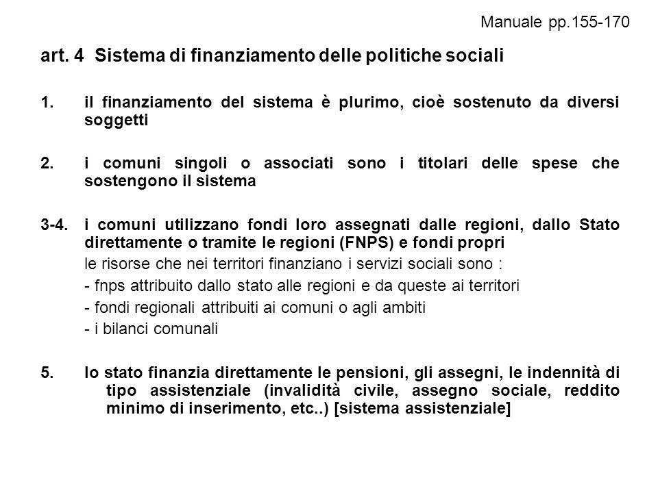 art. 4 Sistema di finanziamento delle politiche sociali