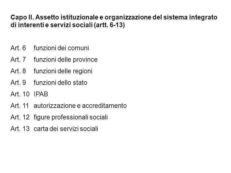 Capo II. Assetto istituzionale e organizzazione del sistema integrato di interenti e servizi sociali (artt. 6-13)