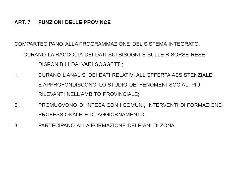 ART. 7 FUNZIONI DELLE PROVINCE