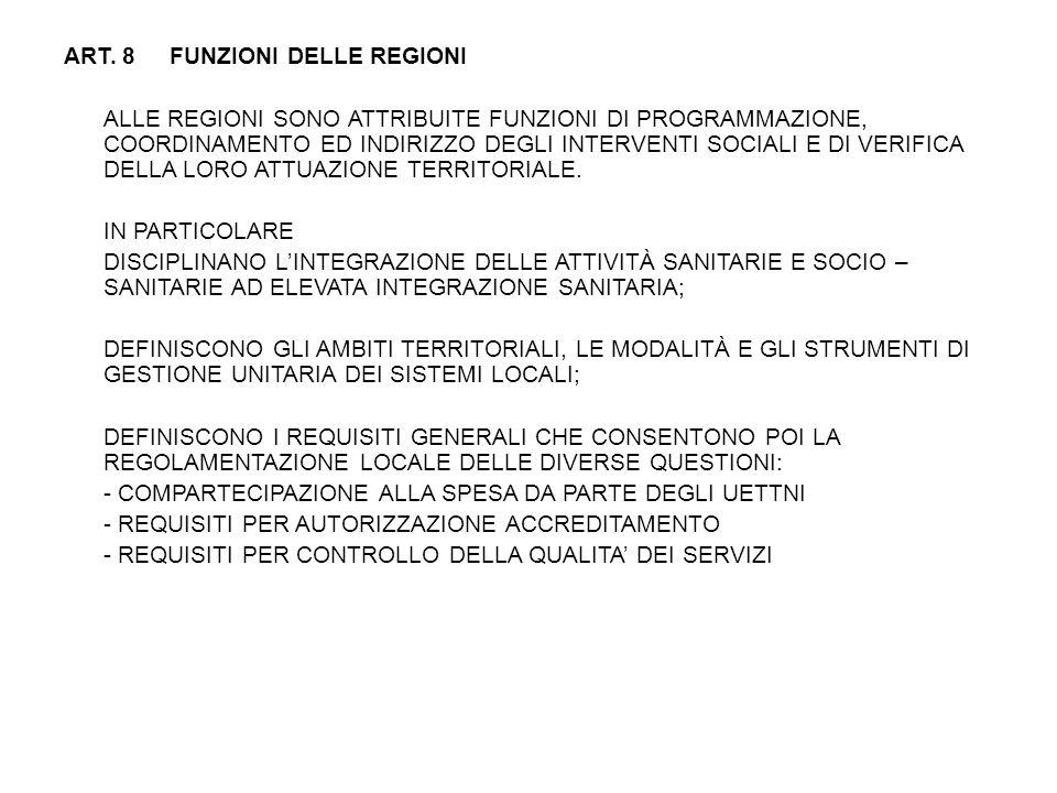 ART. 8 FUNZIONI DELLE REGIONI ALLE REGIONI SONO ATTRIBUITE FUNZIONI DI PROGRAMMAZIONE, COORDINAMENTO ED INDIRIZZO DEGLI INTERVENTI SOCIALI E DI VERIFICA DELLA LORO ATTUAZIONE TERRITORIALE. IN PARTICOLARE DISCIPLINANO L'INTEGRAZIONE DELLE ATTIVITÀ SANITARIE E SOCIO – SANITARIE AD ELEVATA INTEGRAZIONE SANITARIA; DEFINISCONO GLI AMBITI TERRITORIALI, LE MODALITÀ E GLI STRUMENTI DI GESTIONE UNITARIA DEI SISTEMI LOCALI; DEFINISCONO I REQUISITI GENERALI CHE CONSENTONO POI LA REGOLAMENTAZIONE LOCALE DELLE DIVERSE QUESTIONI: - COMPARTECIPAZIONE ALLA SPESA DA PARTE DEGLI UETTNI - REQUISITI PER AUTORIZZAZIONE ACCREDITAMENTO - REQUISITI PER CONTROLLO DELLA QUALITA' DEI SERVIZI