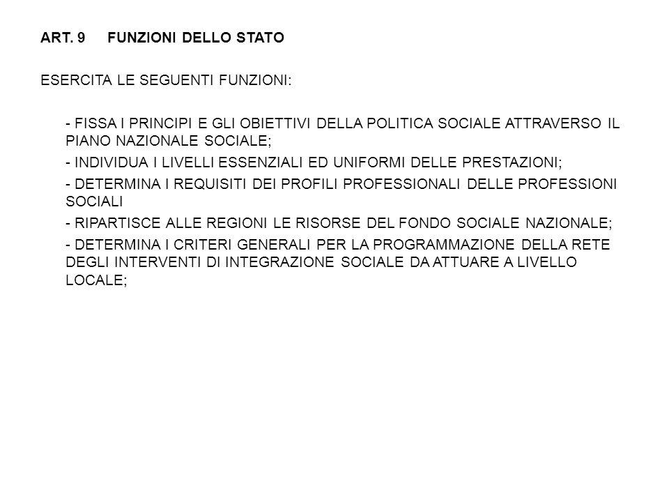 ART. 9 FUNZIONI DELLO STATO ESERCITA LE SEGUENTI FUNZIONI: