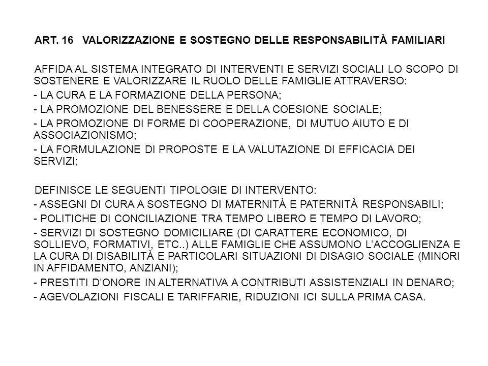 ART. 16 VALORIZZAZIONE E SOSTEGNO DELLE RESPONSABILITÀ FAMILIARI