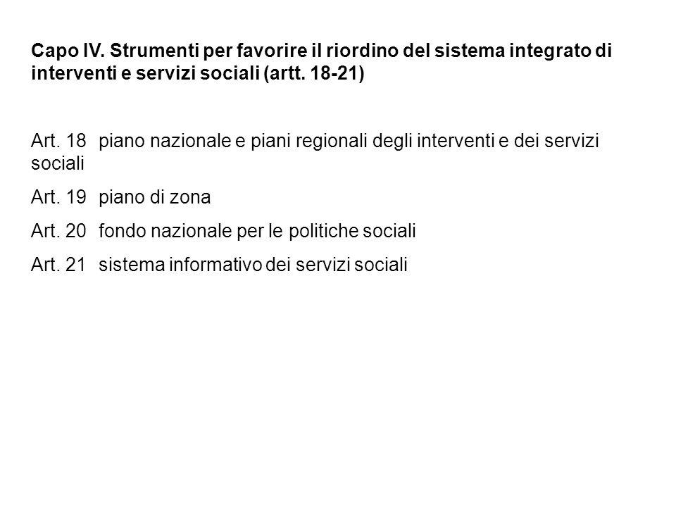 Capo IV. Strumenti per favorire il riordino del sistema integrato di interventi e servizi sociali (artt. 18-21)