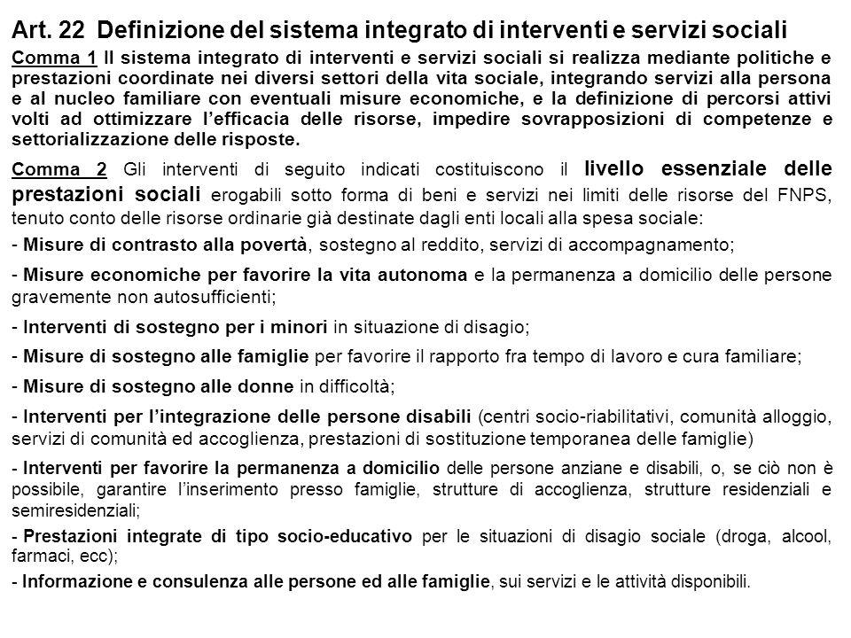 Art. 22 Definizione del sistema integrato di interventi e servizi sociali