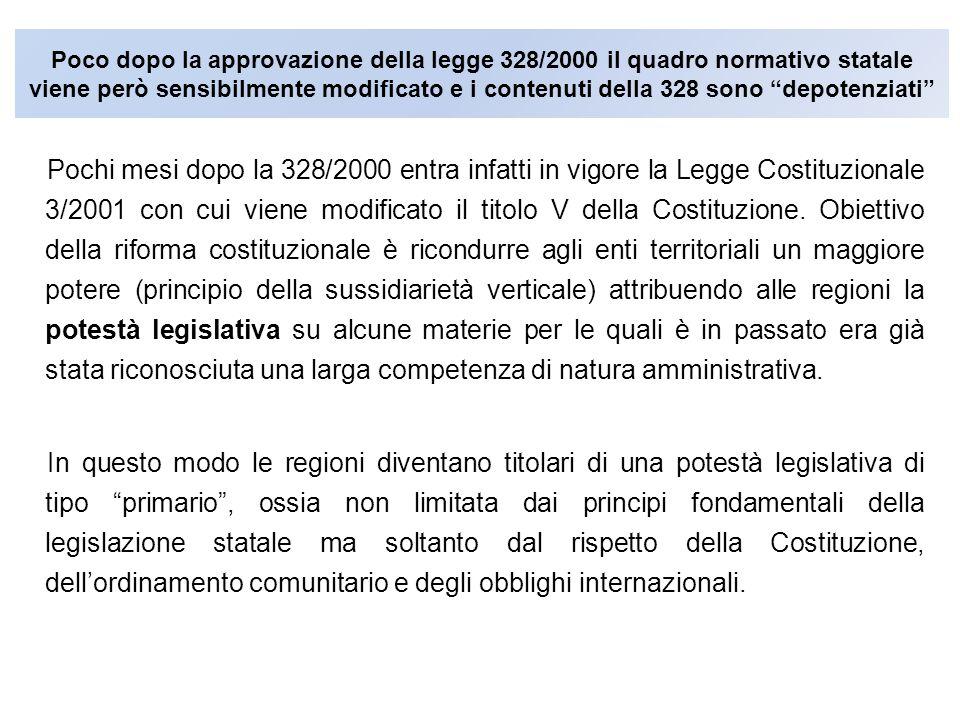 Poco dopo la approvazione della legge 328/2000 il quadro normativo statale viene però sensibilmente modificato e i contenuti della 328 sono depotenziati