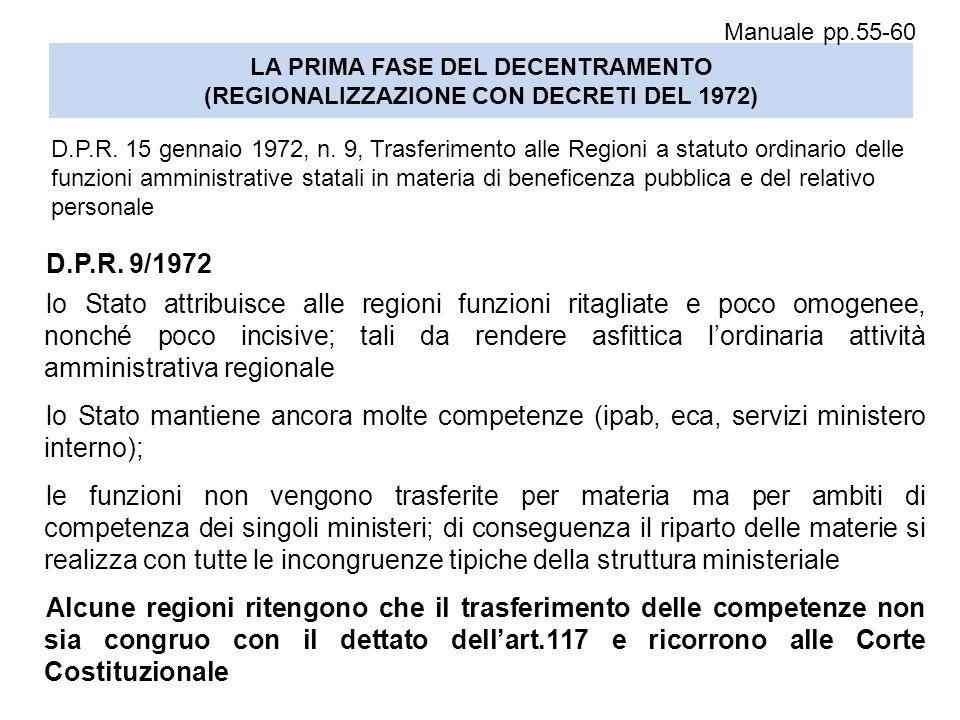 Manuale pp.55-60 LA PRIMA FASE DEL DECENTRAMENTO (REGIONALIZZAZIONE CON DECRETI DEL 1972)