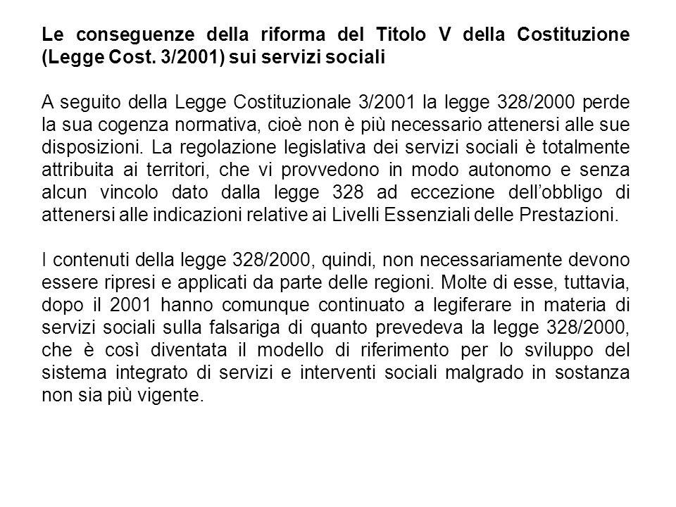 Le conseguenze della riforma del Titolo V della Costituzione (Legge Cost. 3/2001) sui servizi sociali
