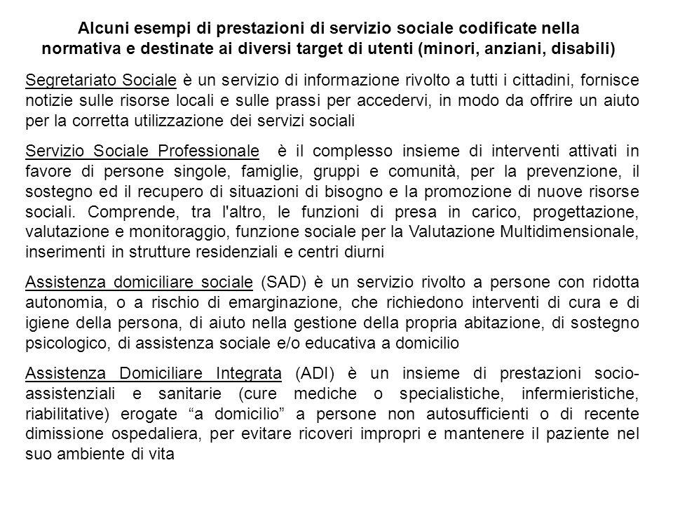 Alcuni esempi di prestazioni di servizio sociale codificate nella normativa e destinate ai diversi target di utenti (minori, anziani, disabili)