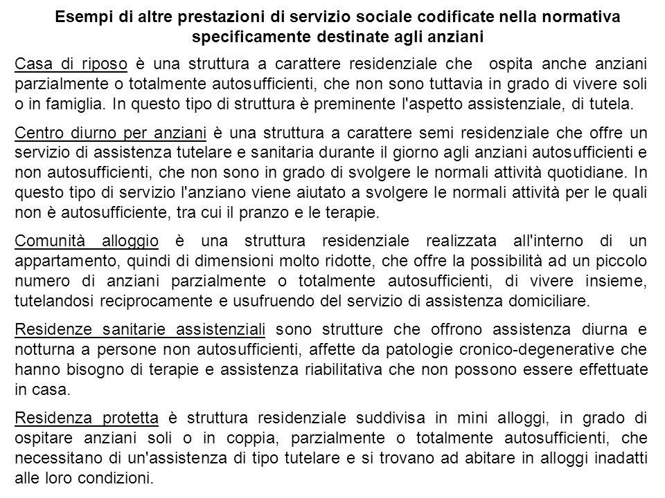 Esempi di altre prestazioni di servizio sociale codificate nella normativa specificamente destinate agli anziani