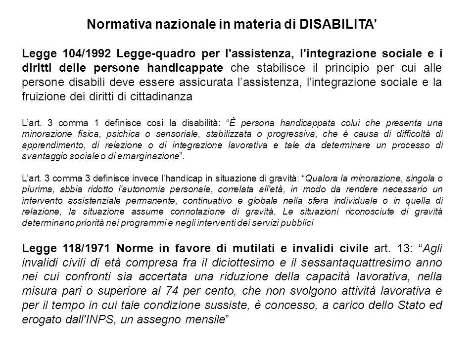 Normativa nazionale in materia di DISABILITA'
