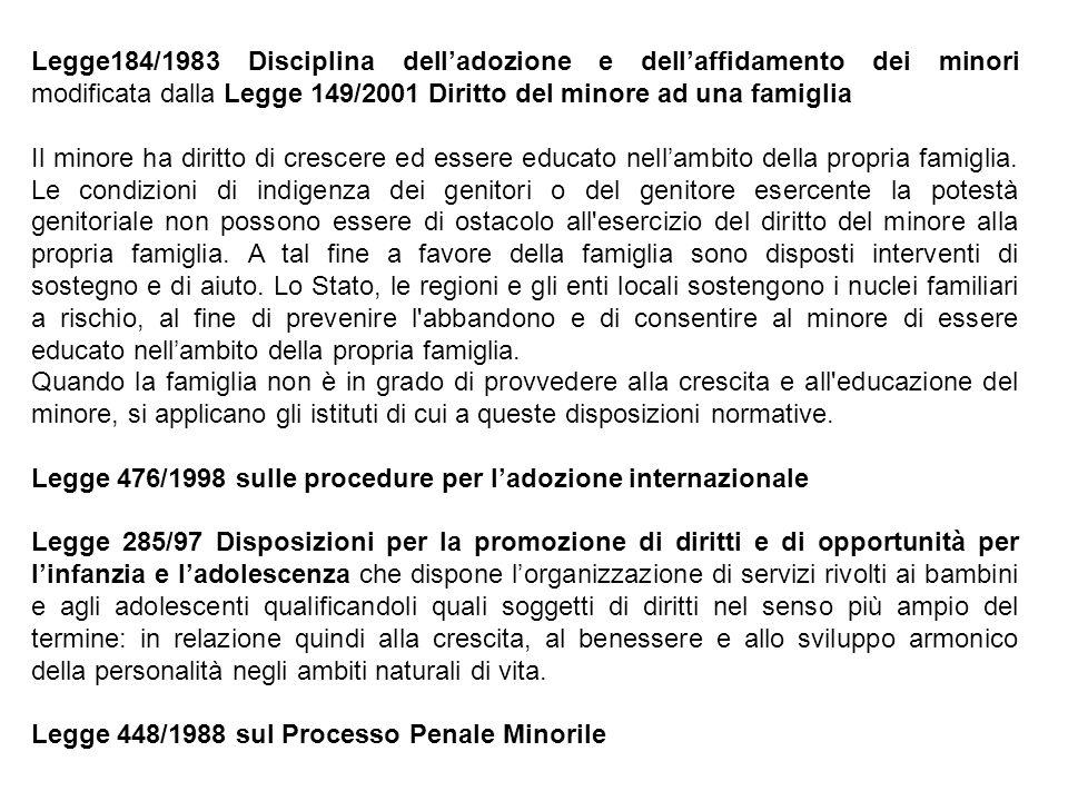 Legge184/1983 Disciplina dell'adozione e dell'affidamento dei minori modificata dalla Legge 149/2001 Diritto del minore ad una famiglia