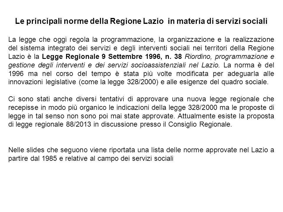 Le principali norme della Regione Lazio in materia di servizi sociali