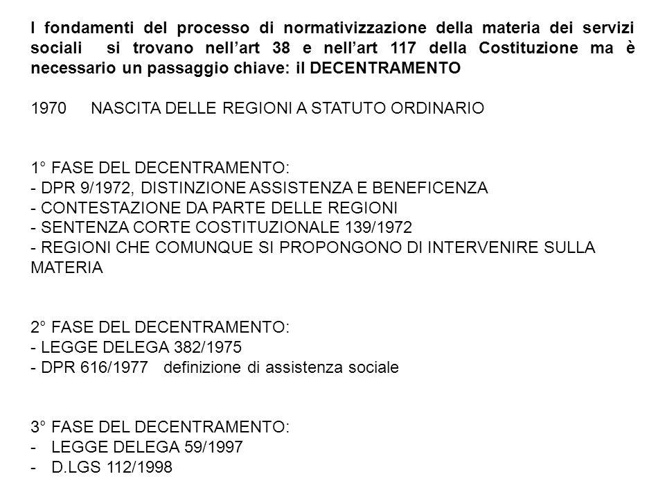 I fondamenti del processo di normativizzazione della materia dei servizi sociali si trovano nell'art 38 e nell'art 117 della Costituzione ma è necessario un passaggio chiave: il DECENTRAMENTO