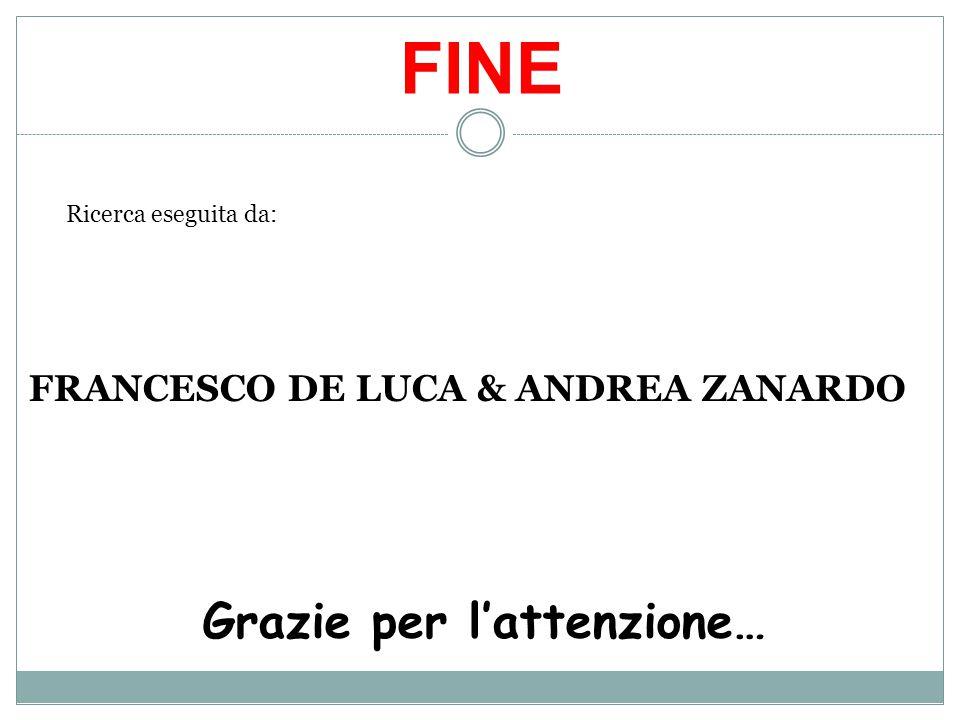 FINE Grazie per l'attenzione… FRANCESCO DE LUCA & ANDREA ZANARDO