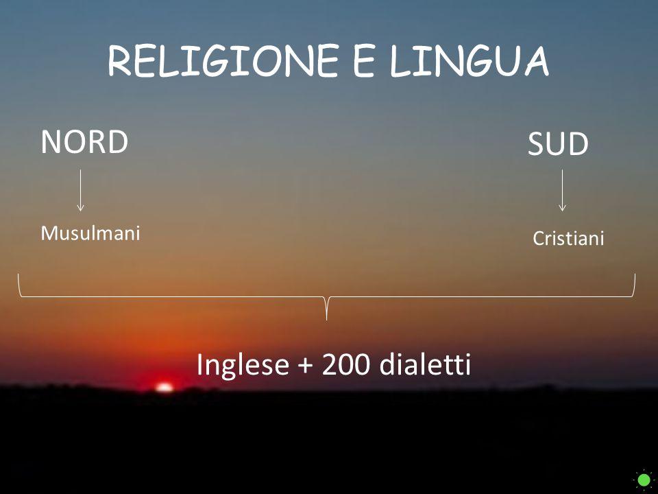 RELIGIONE E LINGUA NORD SUD Musulmani Cristiani Inglese + 200 dialetti