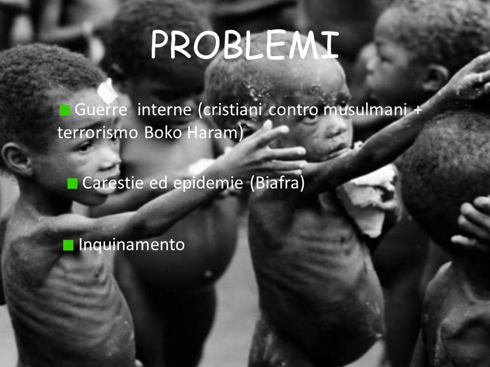 PROBLEMI Guerre interne (cristiani contro musulmani + terrorismo Boko Haram) Carestie ed epidemie (Biafra)