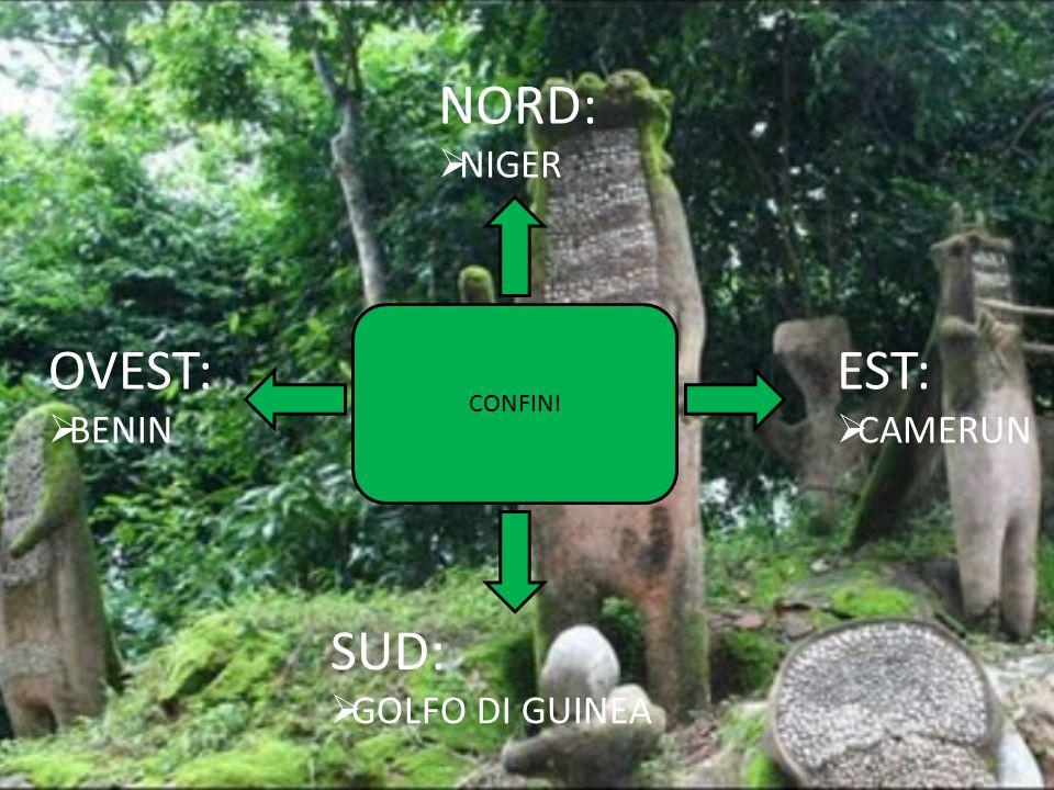NORD: NIGER CONFINI OVEST: BENIN EST: CAMERUN SUD: GOLFO DI GUINEA