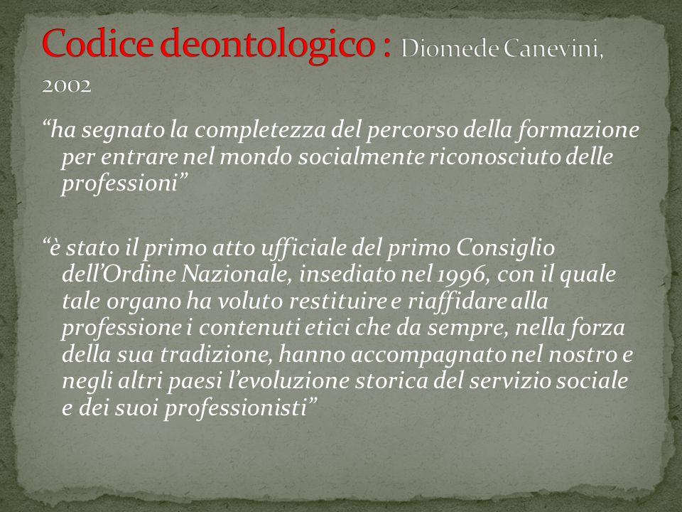Codice deontologico : Diomede Canevini, 2002