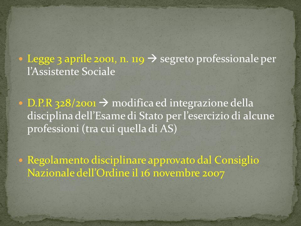 Legge 3 aprile 2001, n. 119  segreto professionale per l'Assistente Sociale