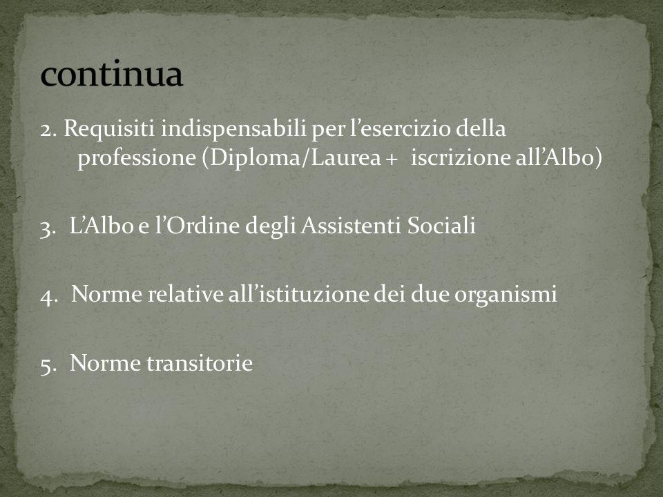 continua 2. Requisiti indispensabili per l'esercizio della professione (Diploma/Laurea + iscrizione all'Albo)
