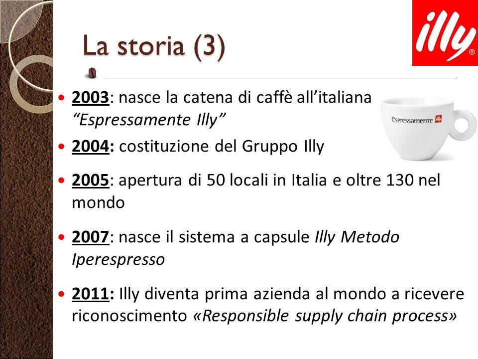 La storia (3) 2003: nasce la catena di caffè all'italiana Espressamente Illy 2004: costituzione del Gruppo Illy.