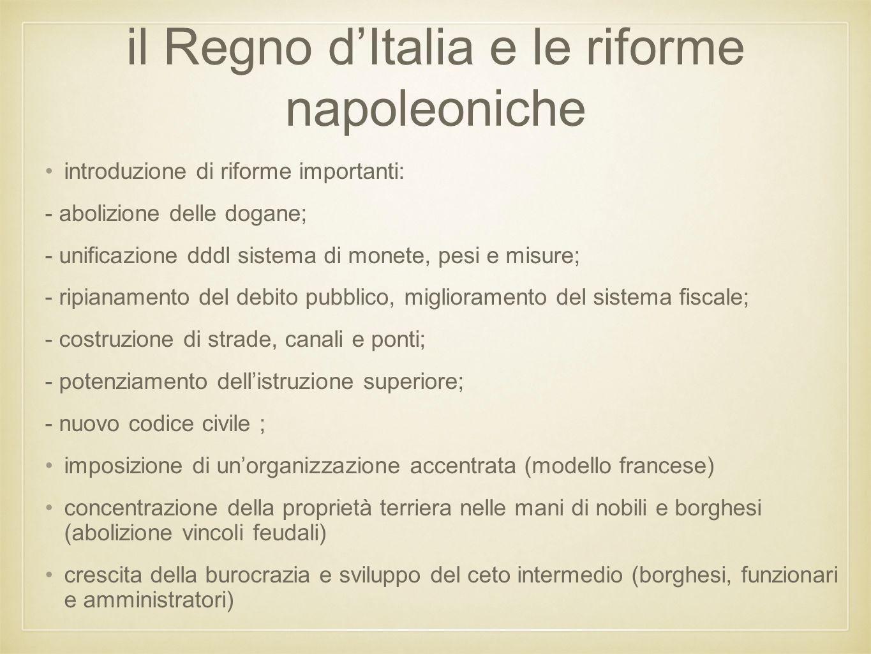 il Regno d'Italia e le riforme napoleoniche