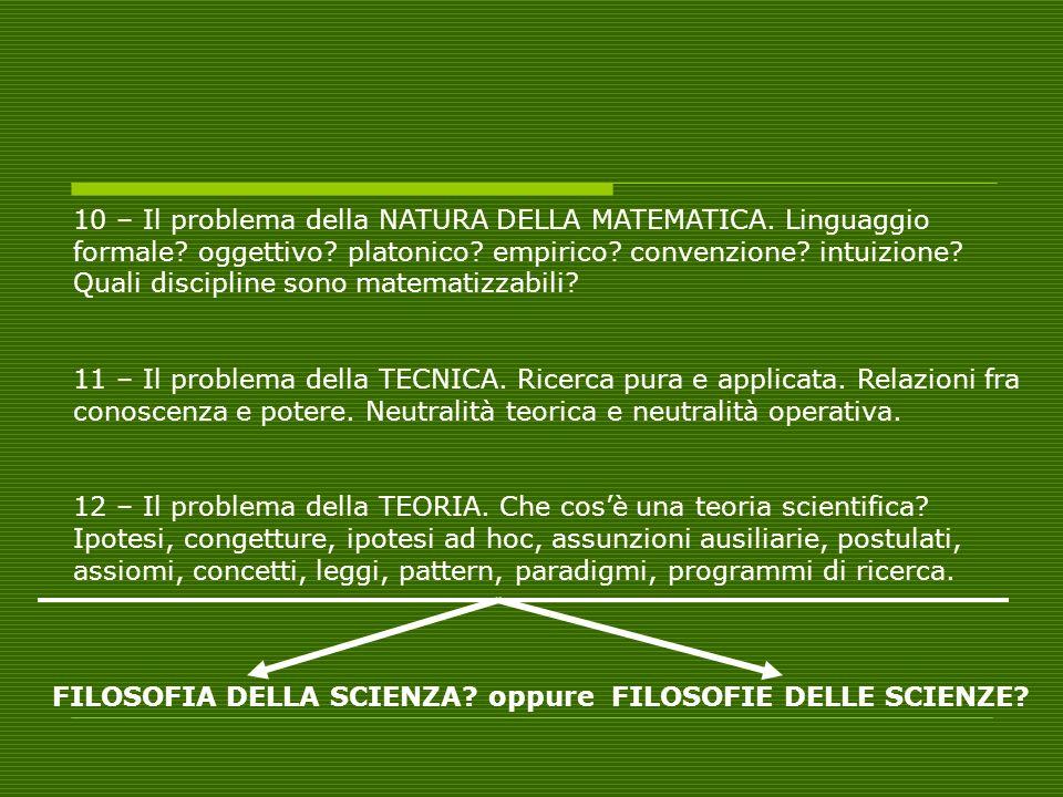 10 – Il problema della NATURA DELLA MATEMATICA. Linguaggio formale