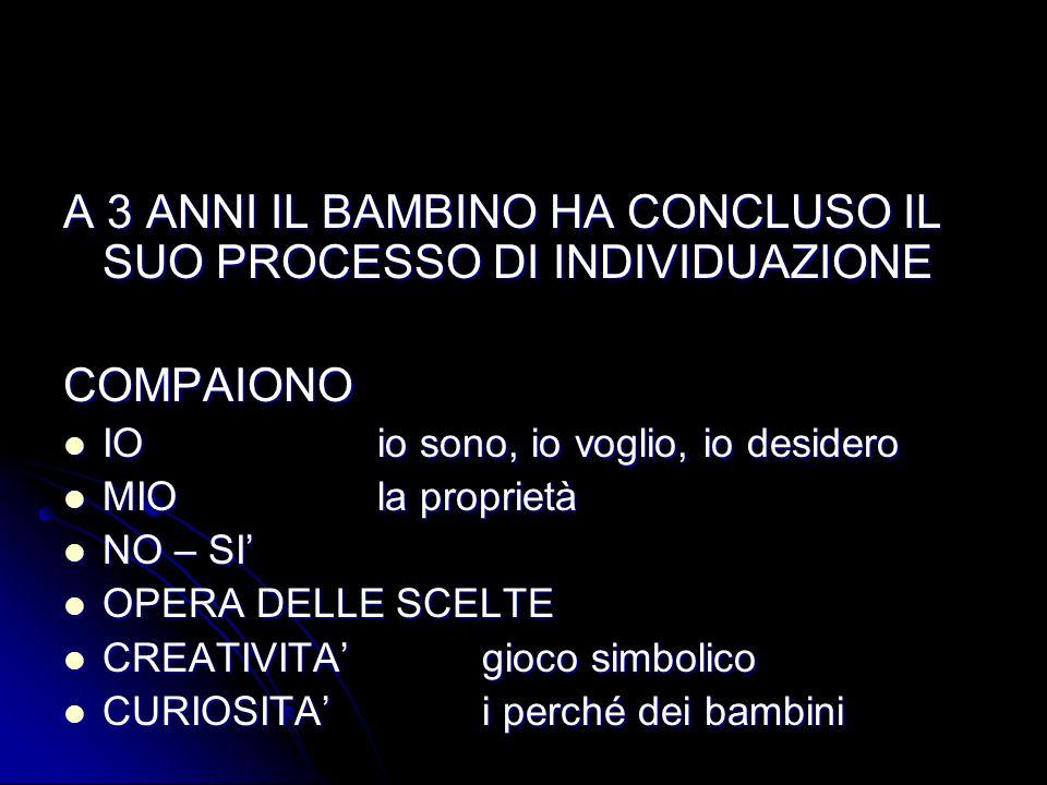 A 3 ANNI IL BAMBINO HA CONCLUSO IL SUO PROCESSO DI INDIVIDUAZIONE