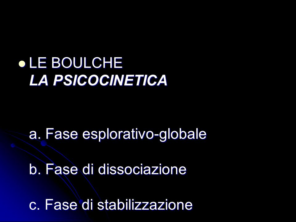 LE BOULCHE LA PSICOCINETICA a. Fase esplorativo-globale b