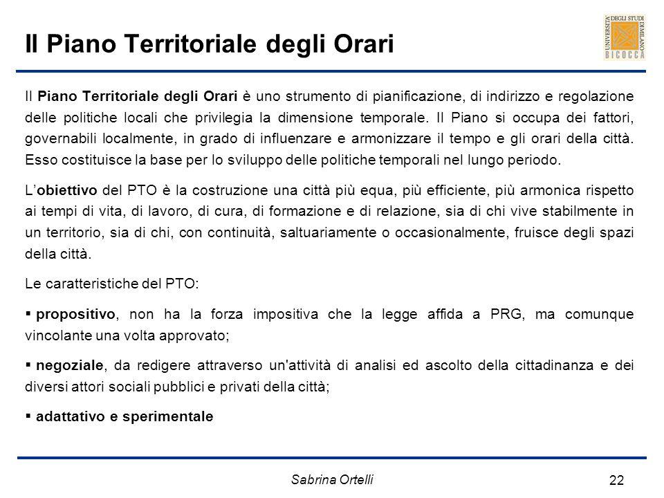 Il Piano Territoriale degli Orari