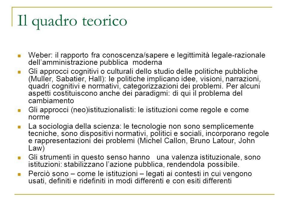 Il quadro teorico Weber: il rapporto fra conoscenza/sapere e legittimità legale-razionale dell'amministrazione pubblica moderna.
