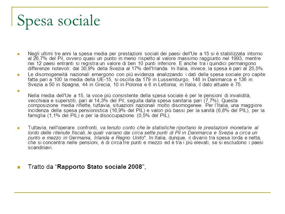 Spesa sociale Tratto da Rapporto Stato sociale 2008 ,