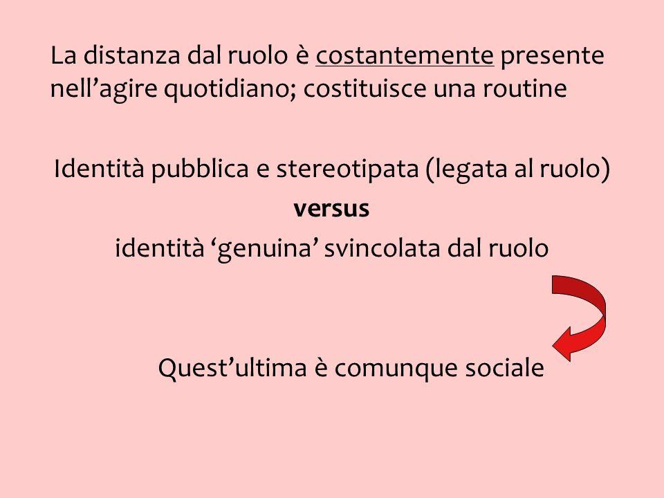 Identità pubblica e stereotipata (legata al ruolo) versus