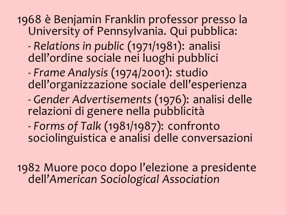 1968 è Benjamin Franklin professor presso la University of Pennsylvania. Qui pubblica: