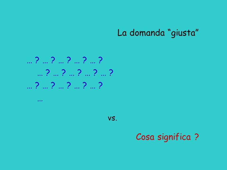 La domanda giusta … … … … … … vs. Cosa significa