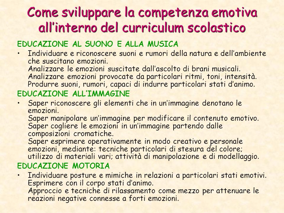 Come sviluppare la competenza emotiva all'interno del curriculum scolastico