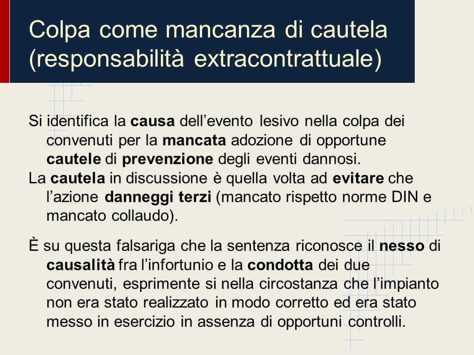 Colpa come mancanza di cautela (responsabilità extracontrattuale)