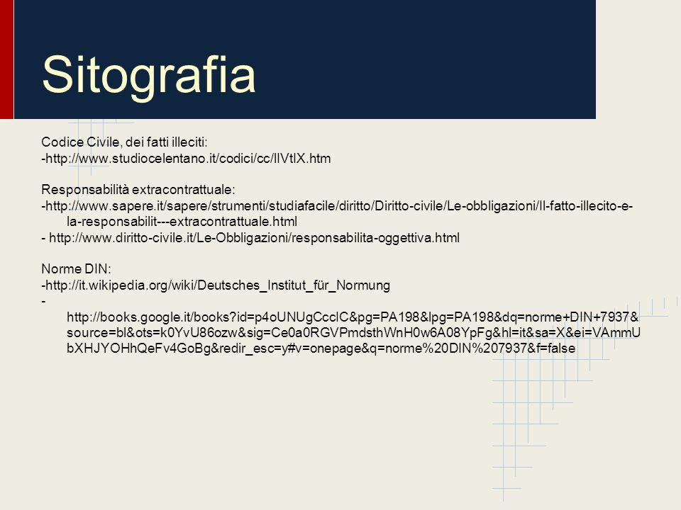 Sitografia Codice Civile, dei fatti illeciti: