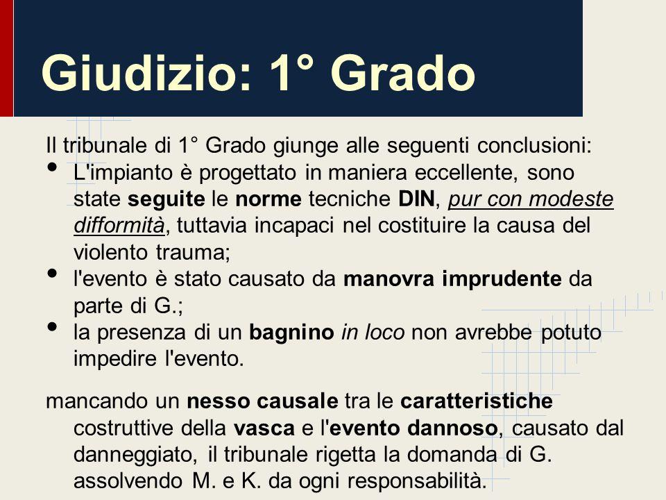 Giudizio: 1° Grado Il tribunale di 1° Grado giunge alle seguenti conclusioni: