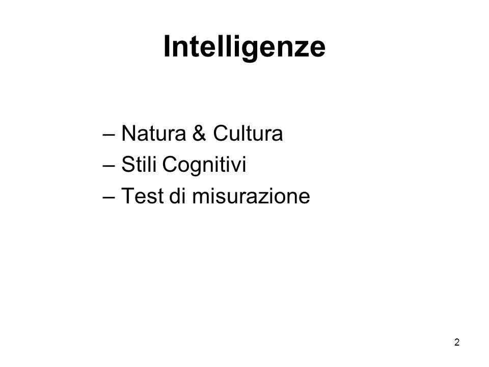 Intelligenze Natura & Cultura Stili Cognitivi Test di misurazione