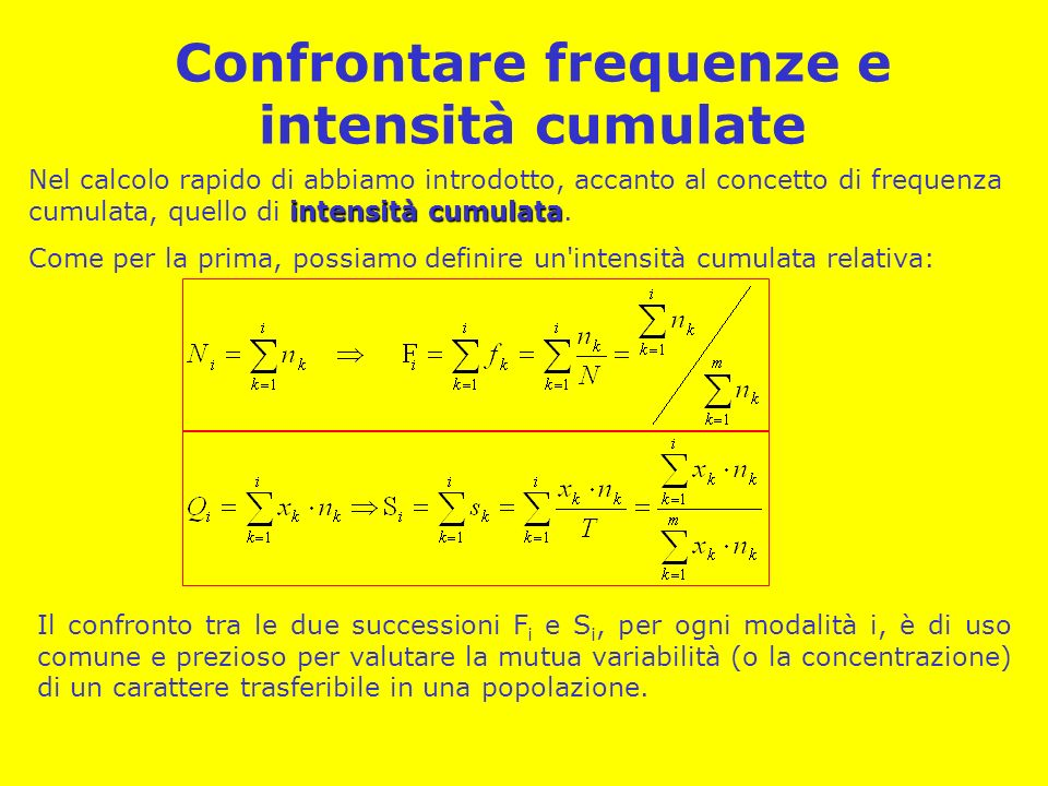 Confrontare frequenze e intensità cumulate