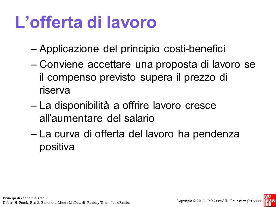 L'offerta di lavoro Applicazione del principio costi-benefici